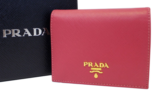 Prada Saffiano Wallet | Bifold Card Wallet Red - Wallet with box