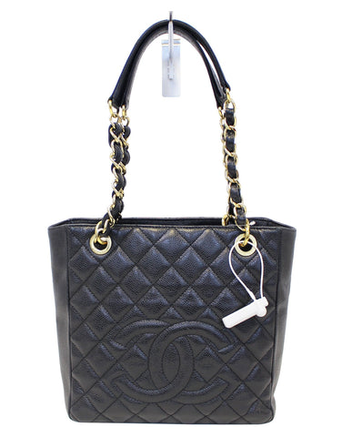 CHANEL Black Caviar Leather Petite Shopping Tote Bag
