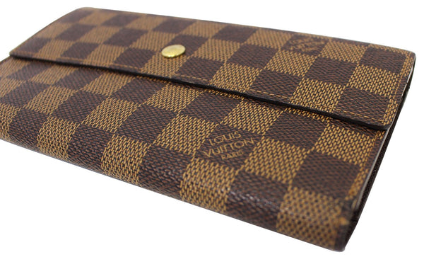 Authentic LOUIS VUITTON Damier Ebene Sarah Long Bifold Wallet E3544