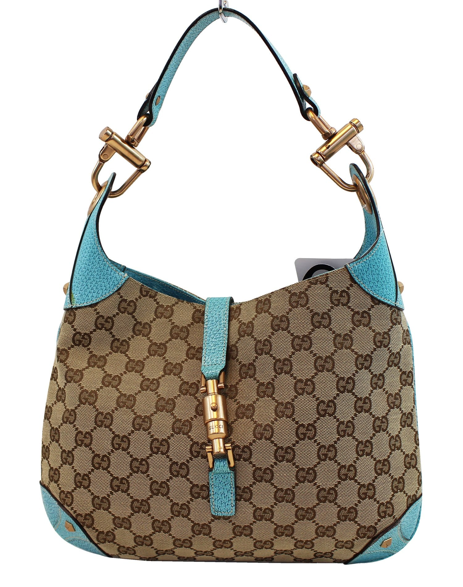 9324395e GUCCI Monogram Piston Lock Jackie Hobo Bag