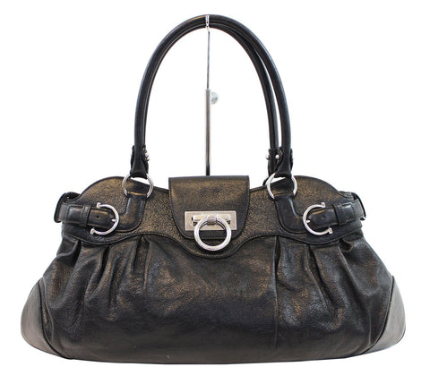 SALVATORE FERRAGAMO Black Calfskin Safari Shoulder Bag - Last Call