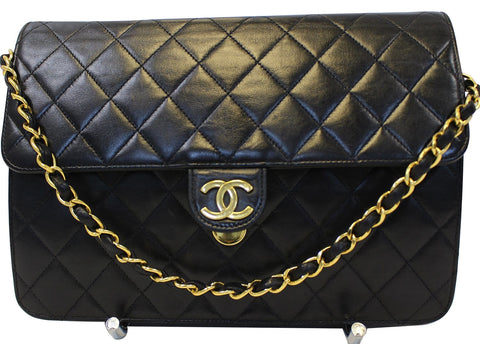 CHANEL Quilted Lambskin Leather Single Flap Black Shoulder Bag - Final Call
