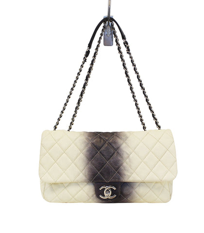 CHANEL Caviar Ombre Jumbo Single Flap Blanc White Shoulder Bag