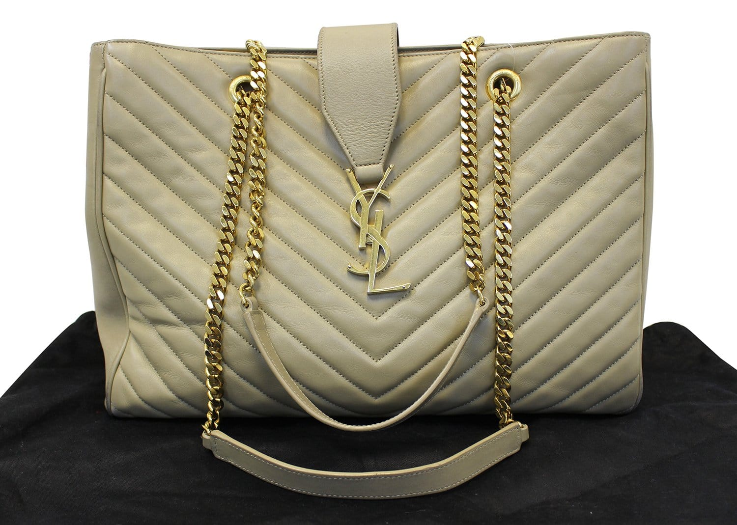 b2422b0a7f207 YVES SAINT LAURENT Matelasse Chevron Monogram Shopper Beige Bag - Fina