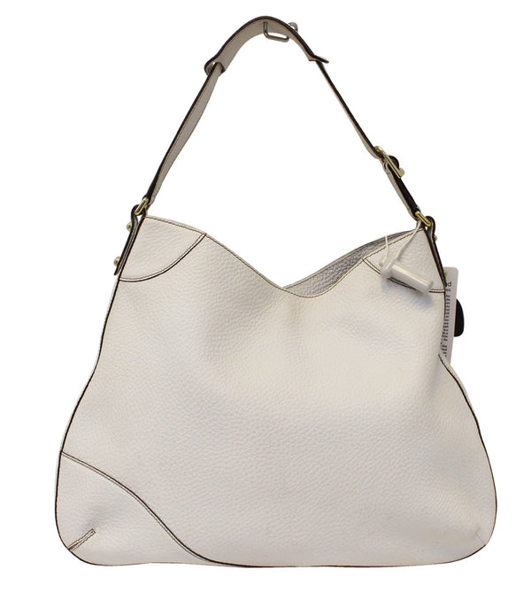 GUCCI 137386 White Leather Saddle Shoulder Bag