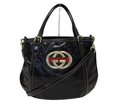 Authentic GUCCI 162886 Black Leather Britt Hobo Bag TT1695