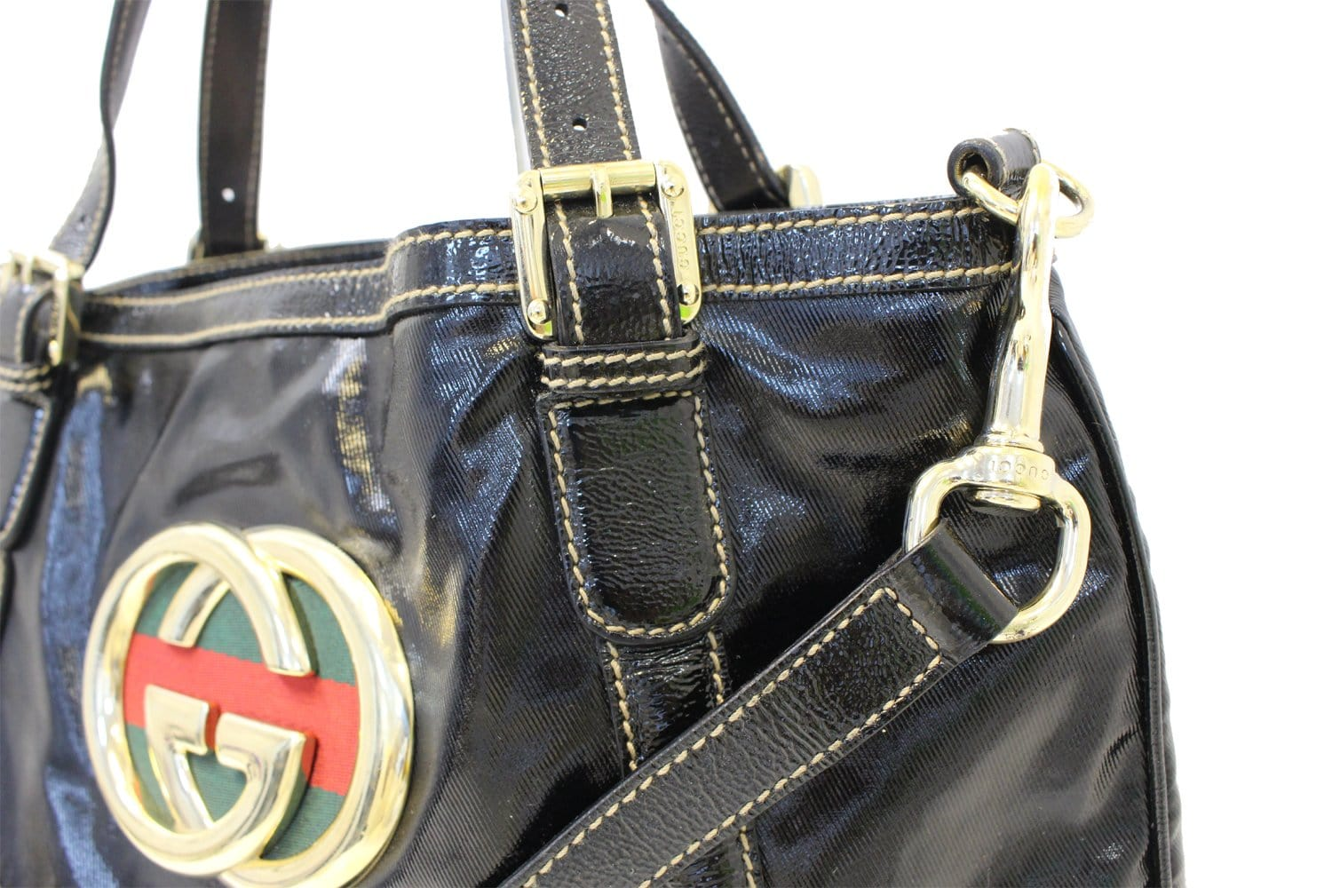 7926da1b1f9e Authentic GUCCI 162886 Black Leather Britt Hobo Bag TT1695