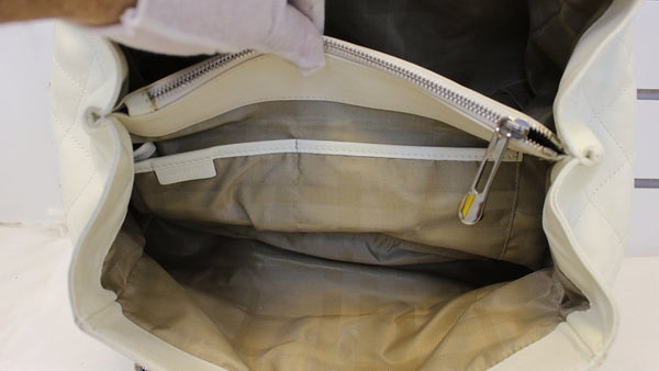 BURBERRY White Quilted Leather Montgomery Satchel Shoulder Bag