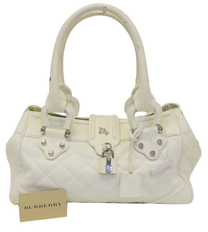 BURBERRY White Quilted Leather Montgomery Satchel Shoulder Bag - Last Call