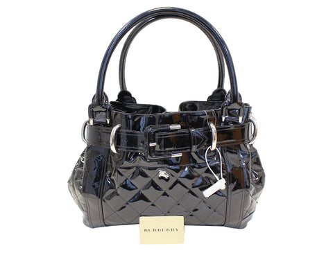 7ea71e06795b BURBERRY Black Quilted Patent Leather Beaton Tote Bag