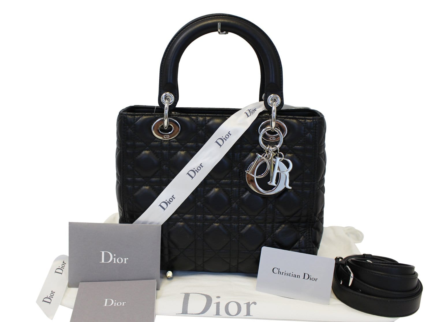 CHRISTIAN DIOR Cannage Quilted Lambskin Leather Lady Dior Medium Bag TT1027 9721fa9caa6ef
