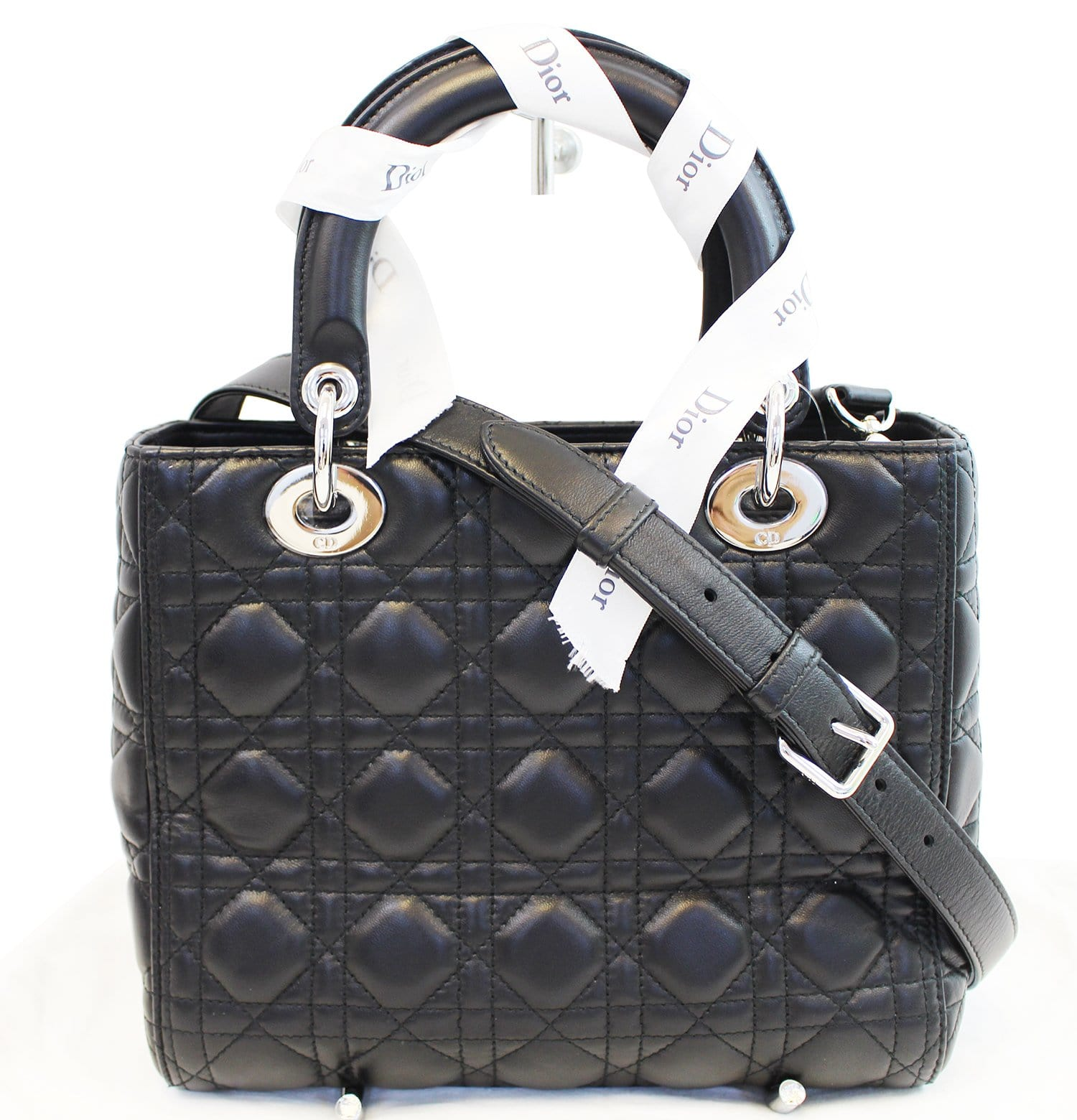92c48e5be4 CHRISTIAN DIOR Cannage Quilted Lambskin Leather Lady Dior Medium Bag TT1027