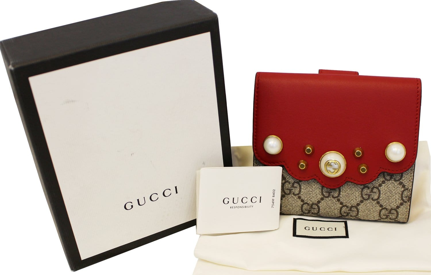 35830440fc4 GUCCI GG Supreme French Flap Wallet Pearl Studded 431480