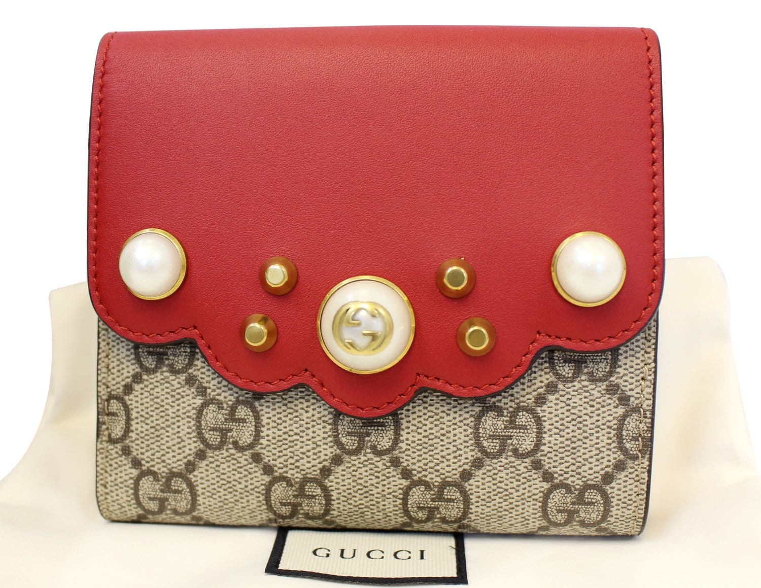6ecc2df5a602 GUCCI GG Supreme French Flap Wallet Pearl Studded 431480