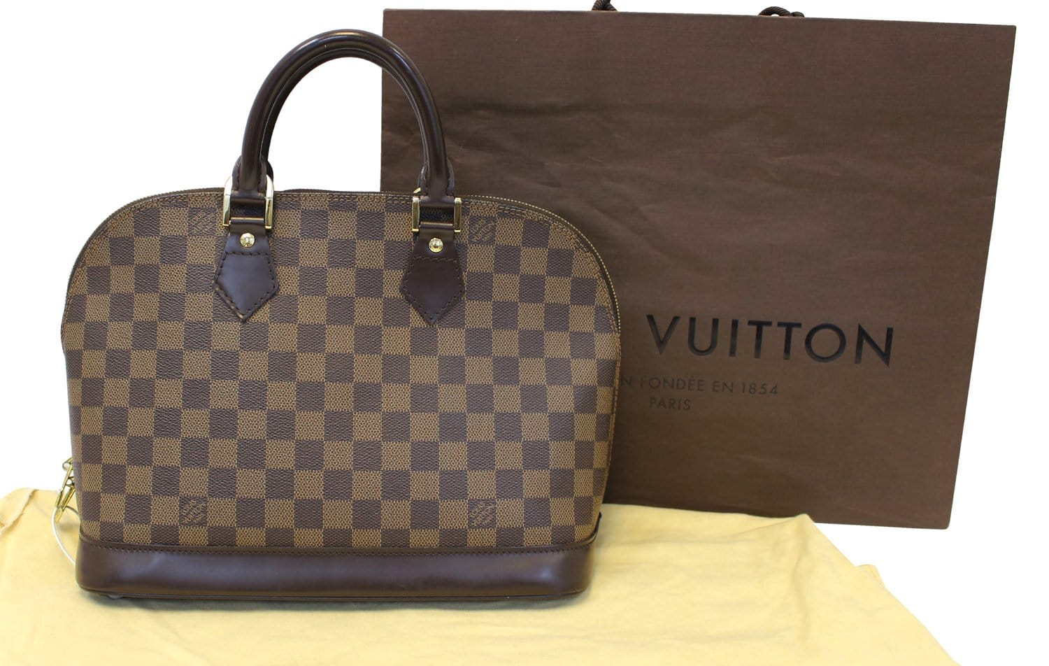 08180118206f LOUIS VUITTON Damier Ebene Alma Brown Handbag