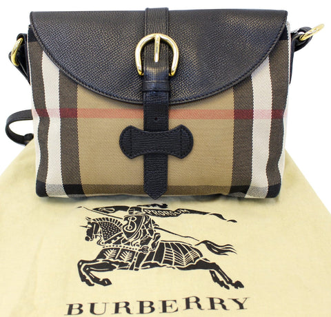 3716a4cce954 BURBERRY Black Leather House Check Horseshoe Milton Crossbody Bag