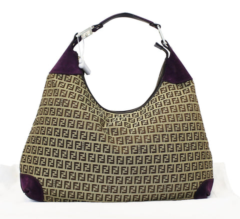 FENDI Forever Beige Monogram Canvas Hobo Bag