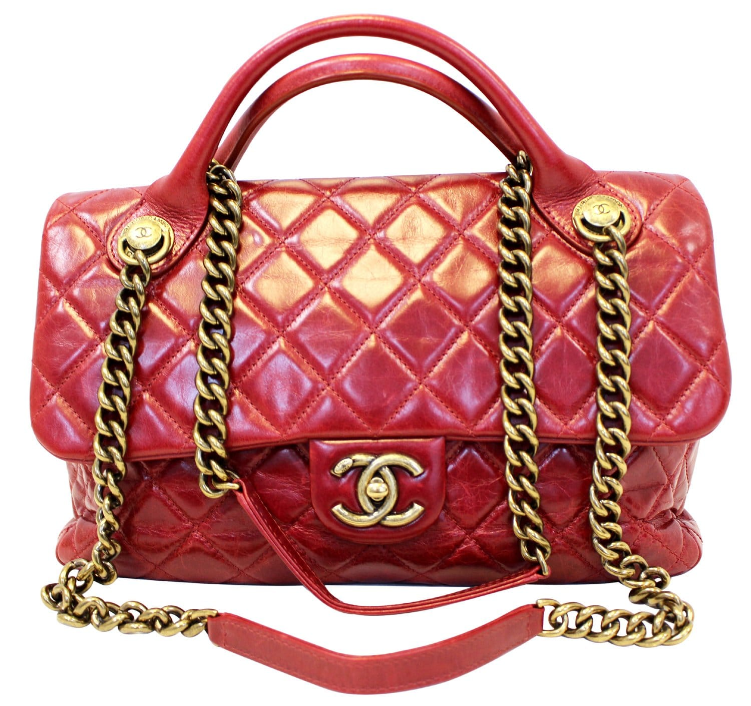 982a12ddd446 CHANEL Red Quilted Glazed Calfskin Leather Large Castle Rock Top Handle Bag