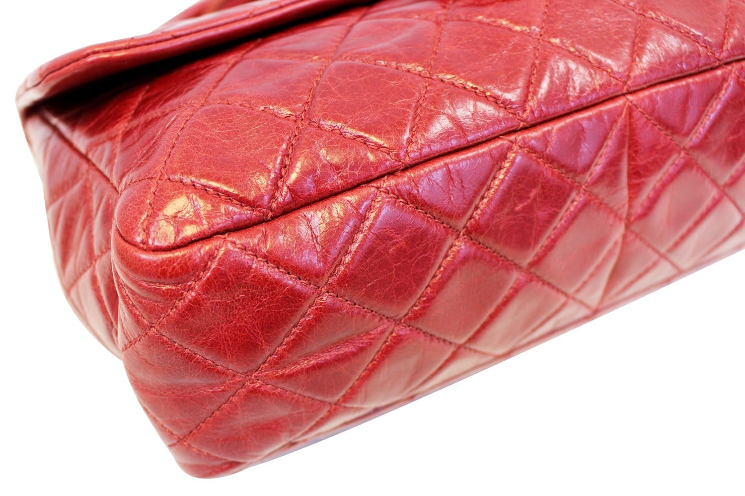 f0ad8b3b287c CHANEL Red Quilted Glazed Calfskin Leather Large Castle Rock Top Handle Bag