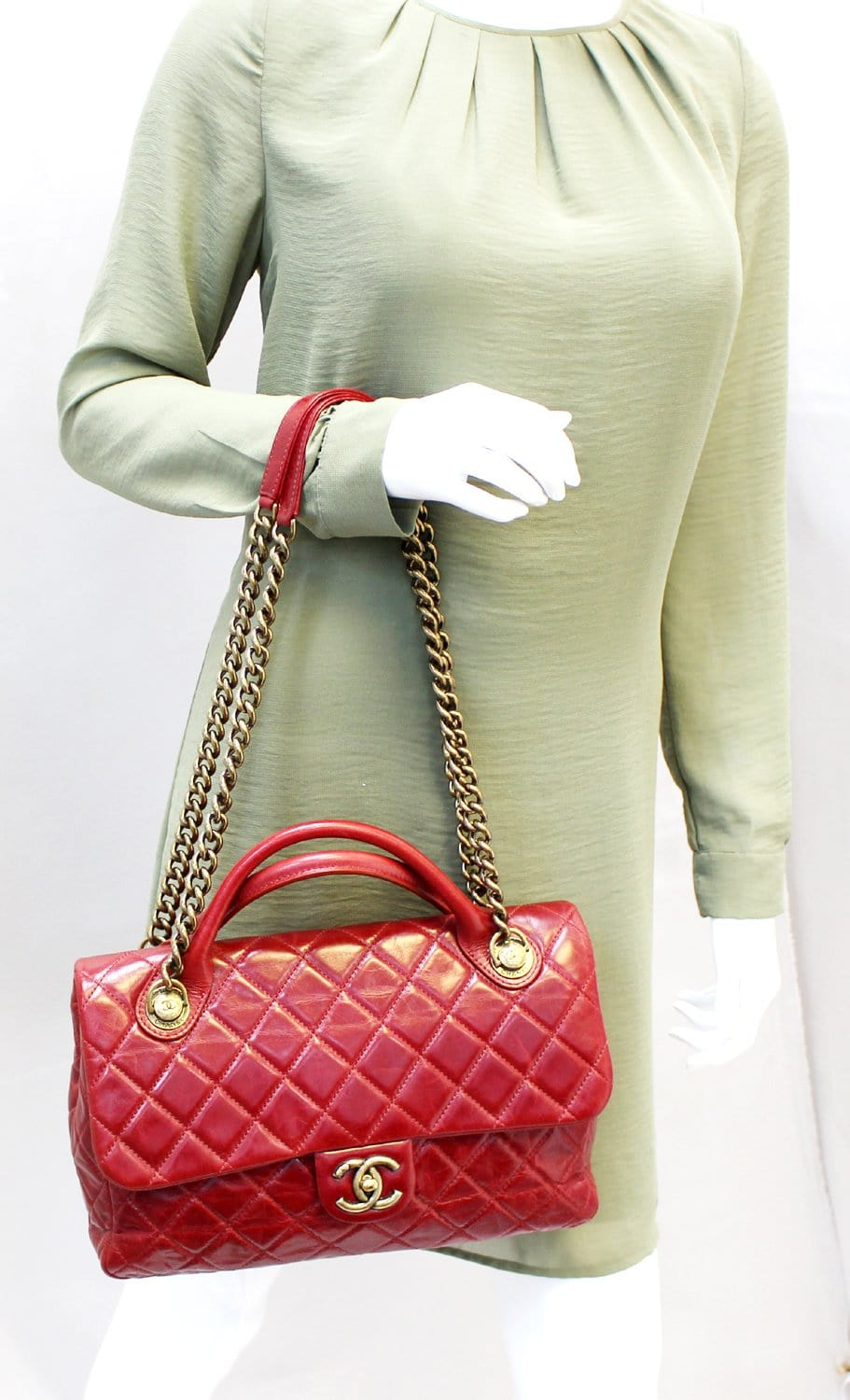 c908a14f12f0 CHANEL Red Quilted Glazed Calfskin Leather Large Castle Rock Top Handle Bag
