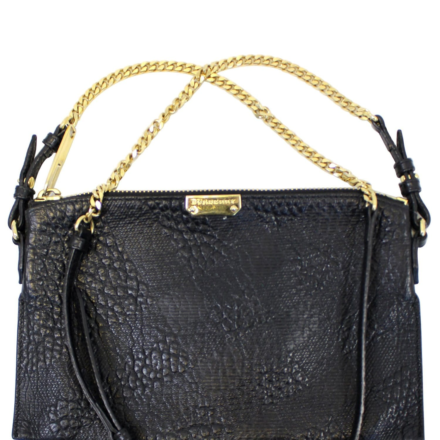 bfd046510d00 BURBERRY Black Embossed Leather Chichester Crossbody Clutch Bag