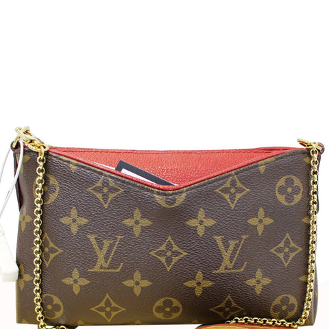 LOUIS VUITTON Monogram Canvas Pallas Clutch Crossbody Bag