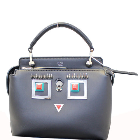 FENDI DotCom Faces Click Top Handle Embellished Leather Shoulder Handbag