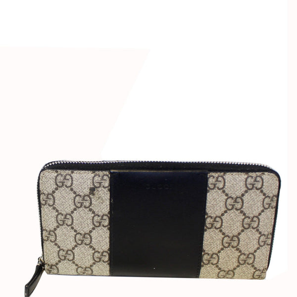 Gucci Wallet GG Supreme Monogram Zip Around Black
