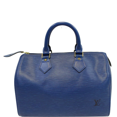 LOUIS VUITTON Epi Speedy 25 Blue Satchel Handbag