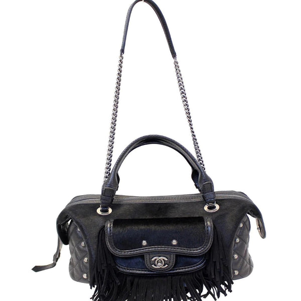 CHANEL Paris Dallas Pony Hair Leather Fringe Bowling Bag Black - Last Call