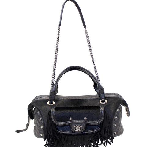 CHANEL Paris Dallas Pony Hair Leather Fringe Bowling Bag Black - 20% OFF