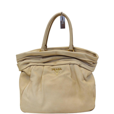 PRADA Nappa Frills Shopping Beige Leather Tote Bag
