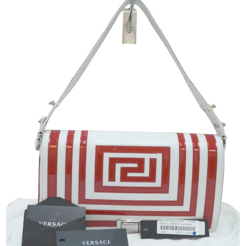 Versace Patent Leather Red/White Short Handle Flap Shoulder Bag - 25% OFF