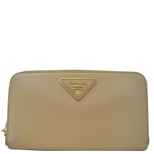 Prada Saffiano Zip-Around Beige Ladies Wallet -Full View