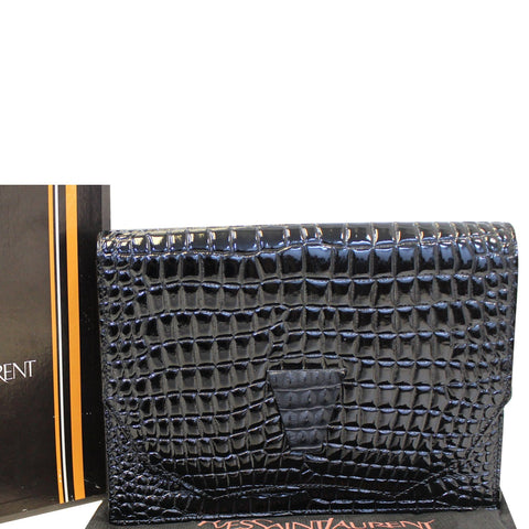 YVES SAINT LAURENT Black Crocodile Leather Clutch Bag