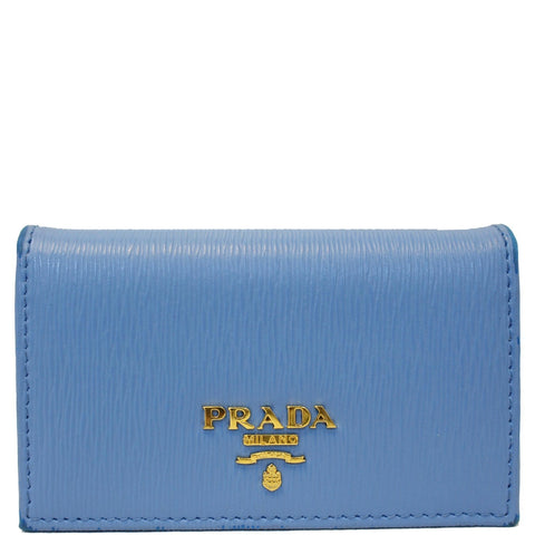 PRADA Saffiano Leather Blue Wallet