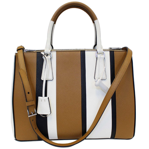 Prada Galleria Bag Striped Saffiano Leather Tote Bag - Front View