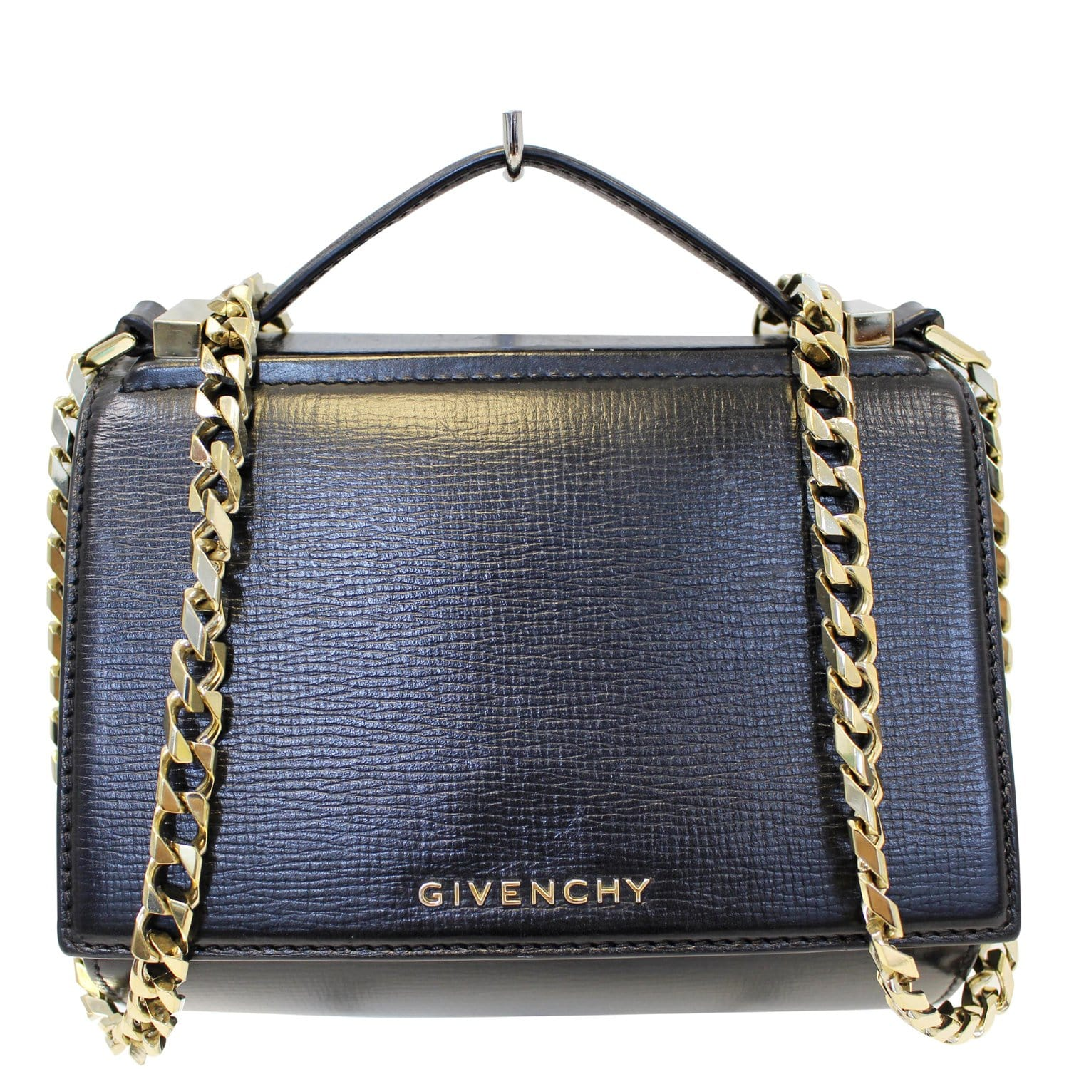 25659c4918 GIVENCHY Mini Pandora Box Calfskin Leather Chain Crossbody Bag Black-US