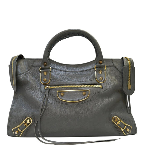 BALENCIAGA Grey Leather Metallic Edge City Shoulder Handbag - Daily Deal