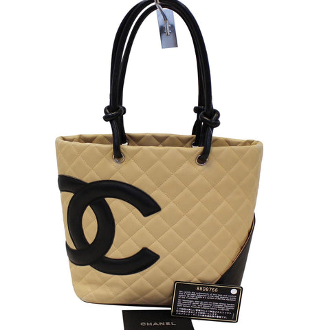 CHANEL Cambon Ligne Quilted Tote Beige Black