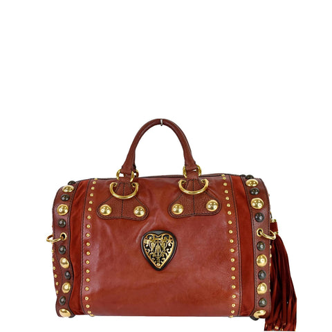 GUCCI GG Crystal Babouska Large Leather Indy Boston Bag 207296 Red