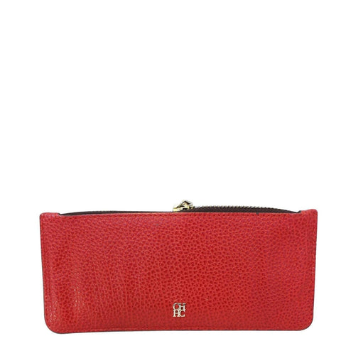 CAROLINA HERRERA Red Leather Card Holder Wallet - Sale