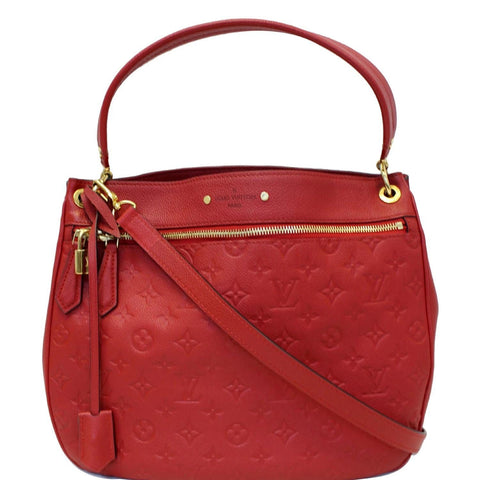 LOUIS VUITTON Spontini Empreinte Leather Shoulder Bag Red