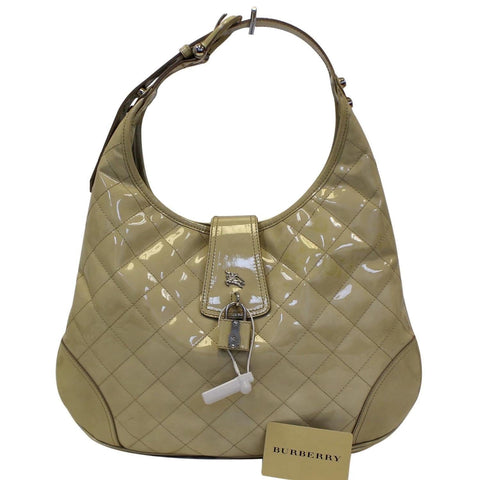 BURBERRY Quilted Patent Leather Brooke Hobo Handbag - Sale