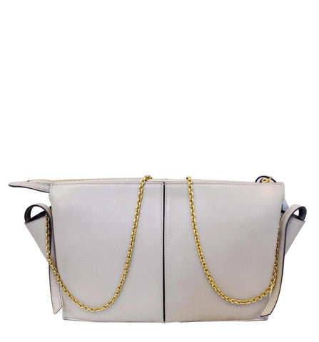 Celine Tri-Fold Clutch on Chain Smooth Calfskin Crossbody Bag Light Grey - 20% OFF