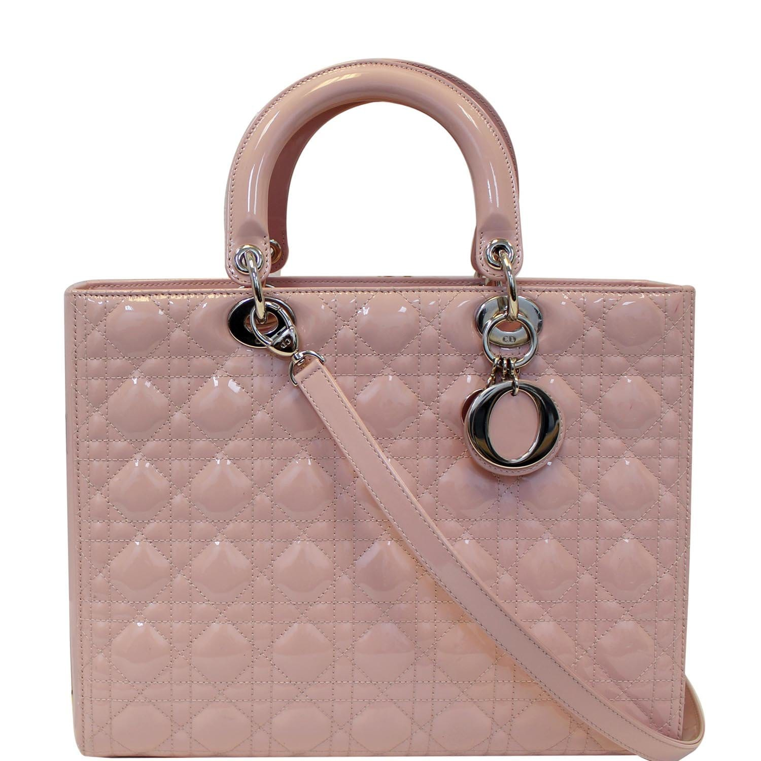 80ba962925 CHRISTIAN DIOR Quilted Patent Leather Lady Dior Large Shoulder Bag Pink