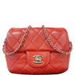 CHANEL Classic Mini Flap Quilted Lambskin Crossbody Bag Red