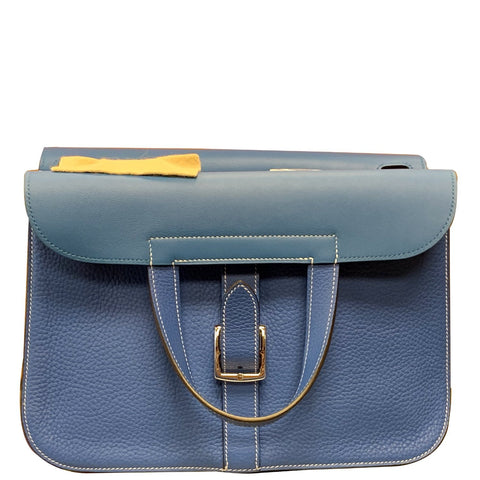 HERMES Halzan 31cm Clemence Leather Crossbody Bag Blue