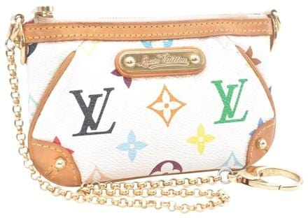 Auth Louis Vuitton Milla PM Multicolor Pochette White Pouch 9bc5d15c1fe63