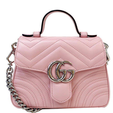 GUCCI GG Marmont Mini Top Handle Shoulder Bag Pastel Pink 547260